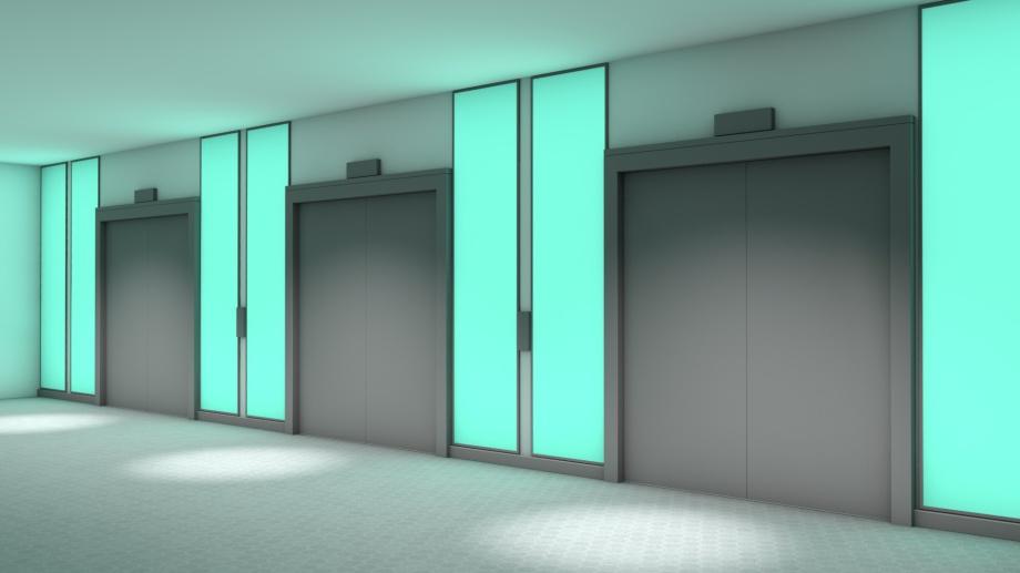 LED-Flächenlicht im Sonderrahmen - Aufzugportale in einem Krankenhau
